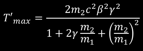 Relativistic energy transfer relationship for a Head-on Collision. Relativist quantity are defined here