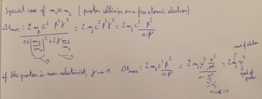 case proton on electron energy transfert